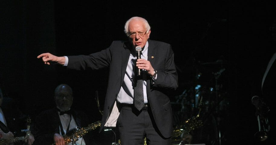 "2020 Democratic presidential candidate Bernie Sanders appears onstage at the Jazz Foundation of America's 17th annual ""A Great Night In Harlem"" concert at the Apollo Theater on Thursday, April 4, 2019, in New York."