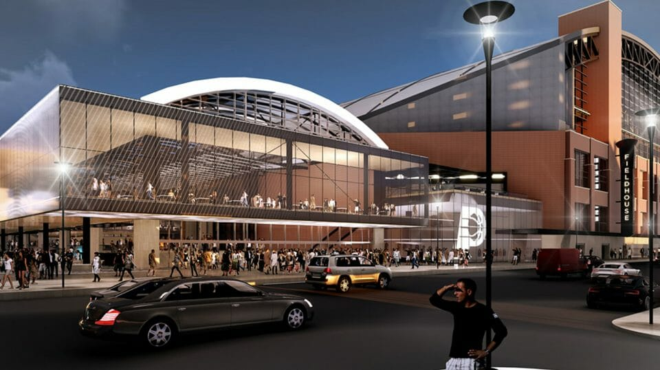 This rendering provided by the Indiana Pacers, shows renovations and expansion of the NBA basketball team's downtown arena in Indianapolis.