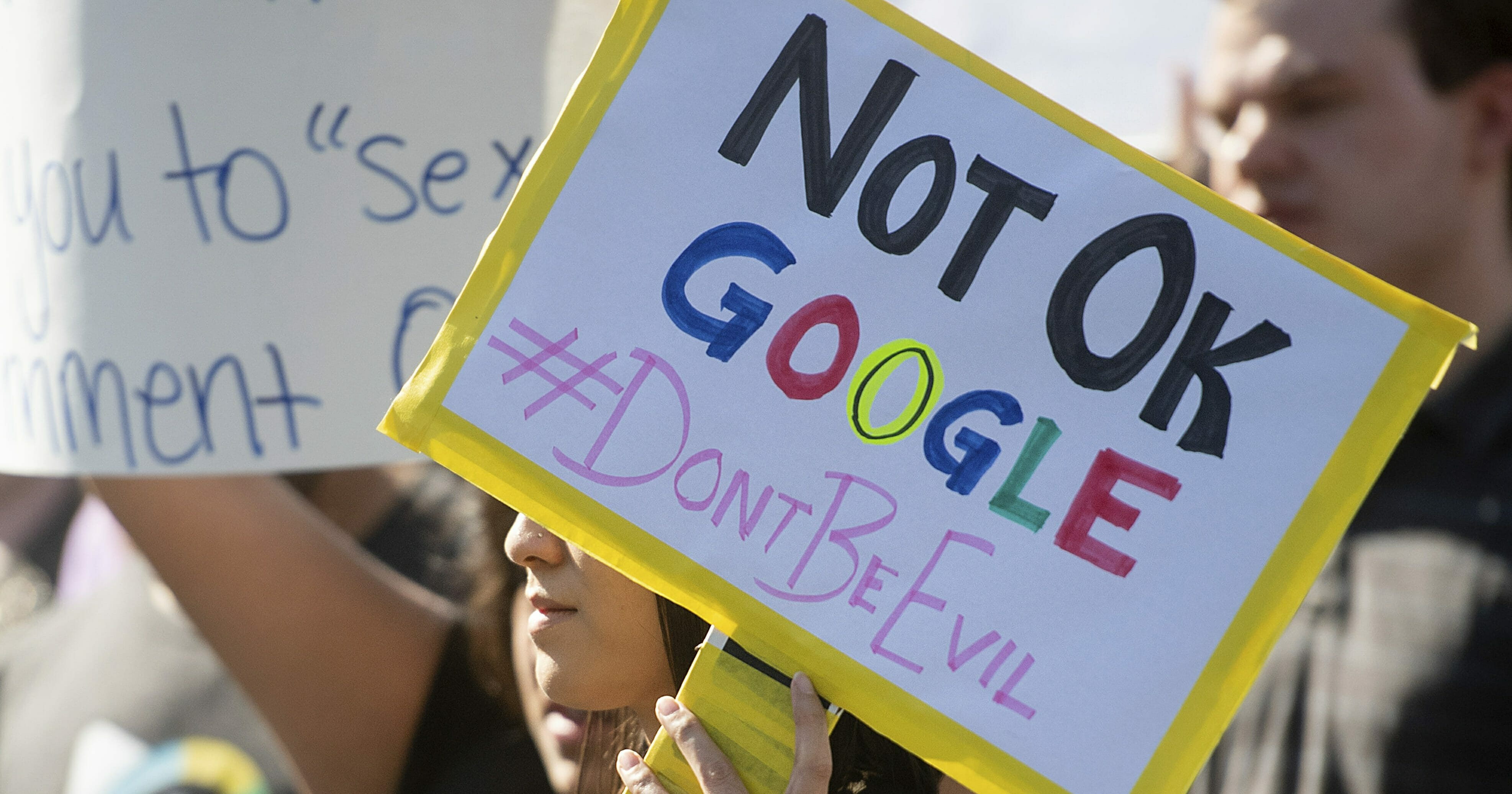 In this Nov. 1, 2018, file photo, workers protest against Google's handling of sexual misconduct allegations at the company's Mountain View, California, headquarters.