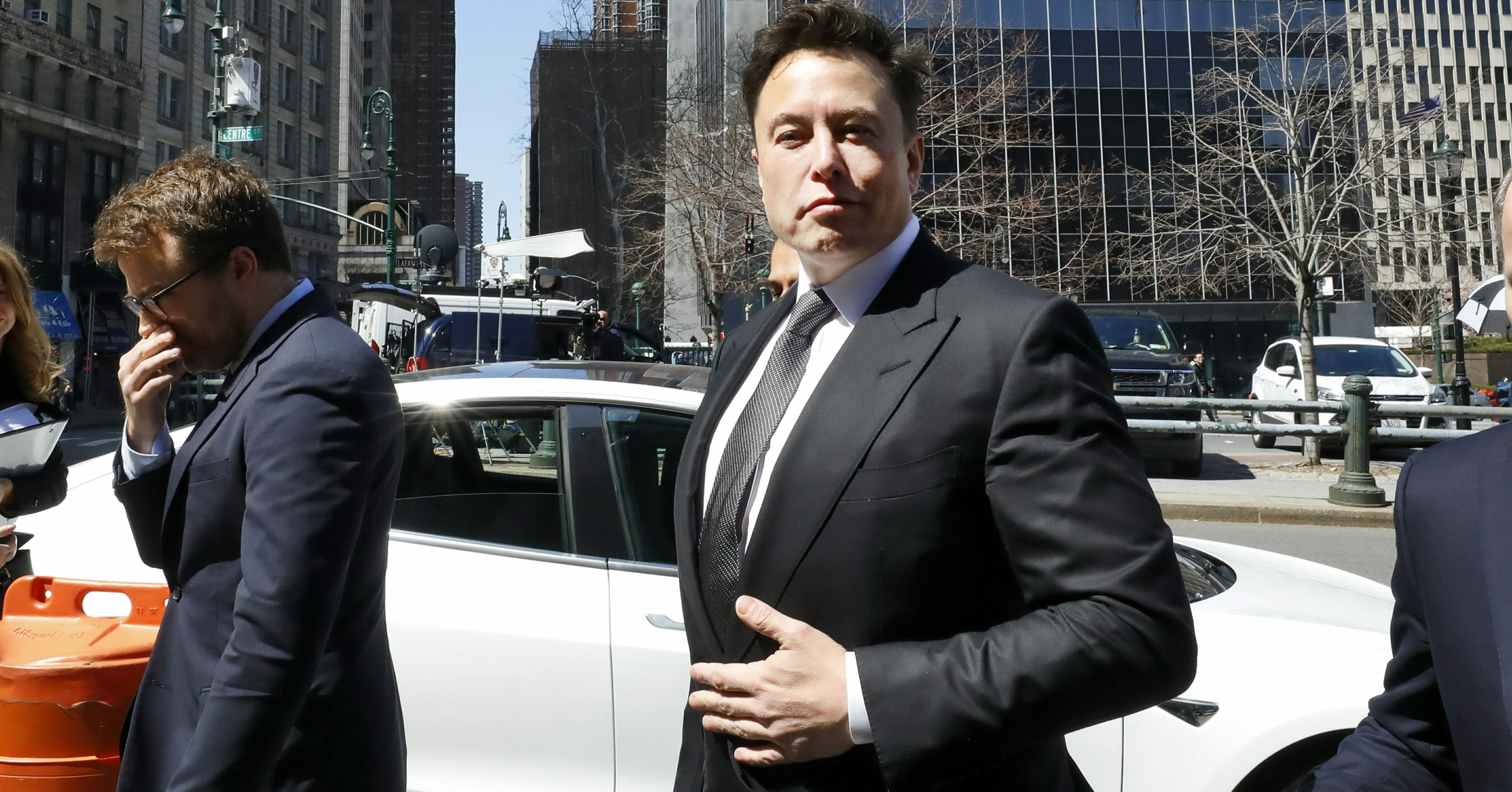 Tesla CEO Elon Musk arrives in a Tesla at Manhattan Federal Court in New York on Thursday, April 4, 2019.