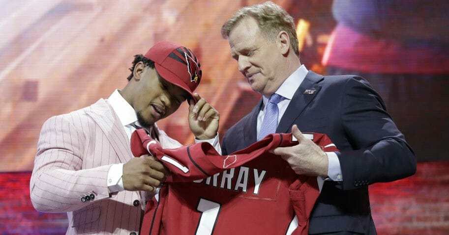 Oklahoma quarterback Kyler Murray poses with NFL Commissioner Roger Goodell after the Arizona Cardinals selected Murray in the first round at the NFL football draft, Thursday, April 25, 2019, in Nashville, Tenn.