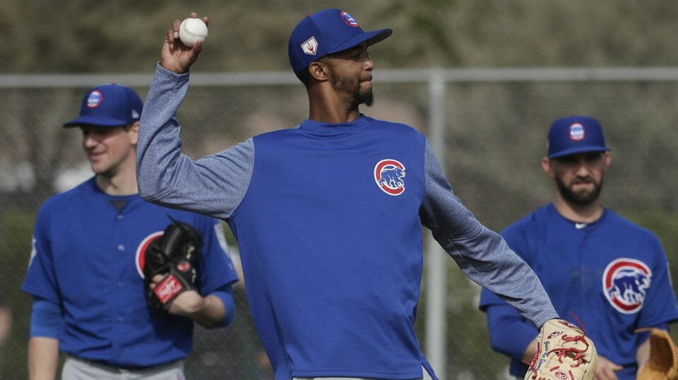 Chicago Cubs pitcher Carl Edwards Jr. throws during a spring training workout, in Mesa, Arizona, on Feb. 15, 2019.