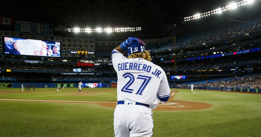 Toronto Blue Jays rookie Vladimir Guerrero Jr. leaves the on-deck circle before his first major league at-bat.