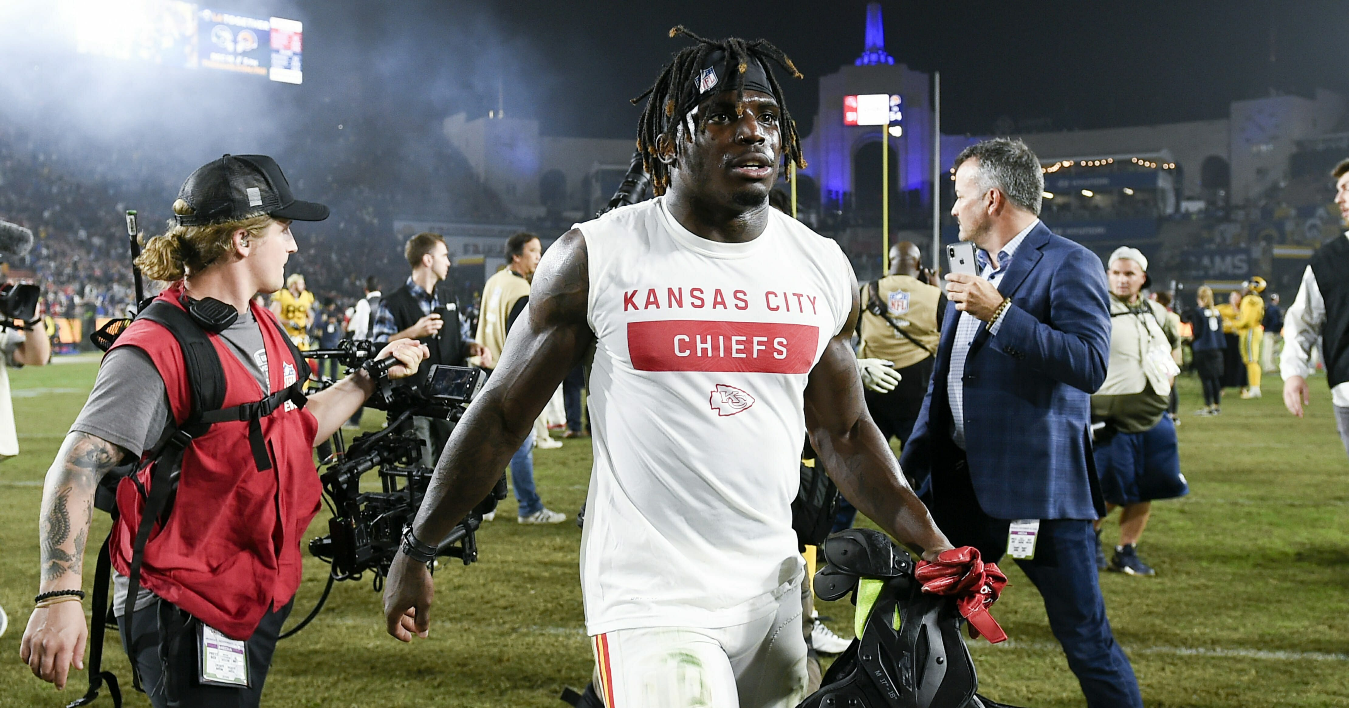 In this Nov. 19, 2018, file photo, Kansas City Chiefs wide receiver Tyreek Hill walks off the field after an NFL football game against the Los Angeles Rams, in Los Angeles.