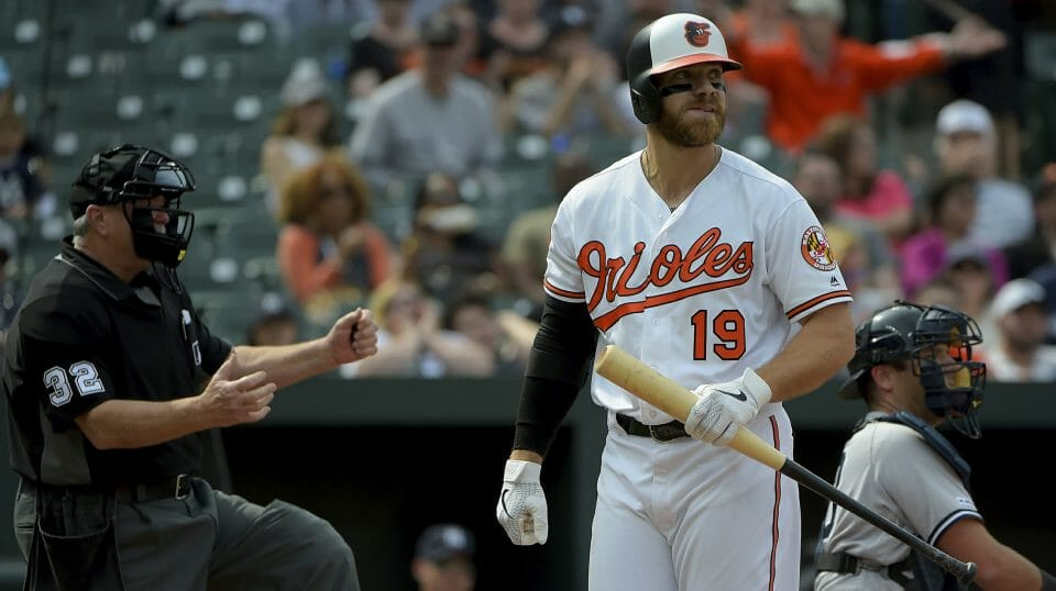 Baltimore Orioles first baseman Chris Davis reacts after striking out in the seventh inning of a baseball game against the New York Yankees, Sunday, April 7, 2019, in Baltimore.