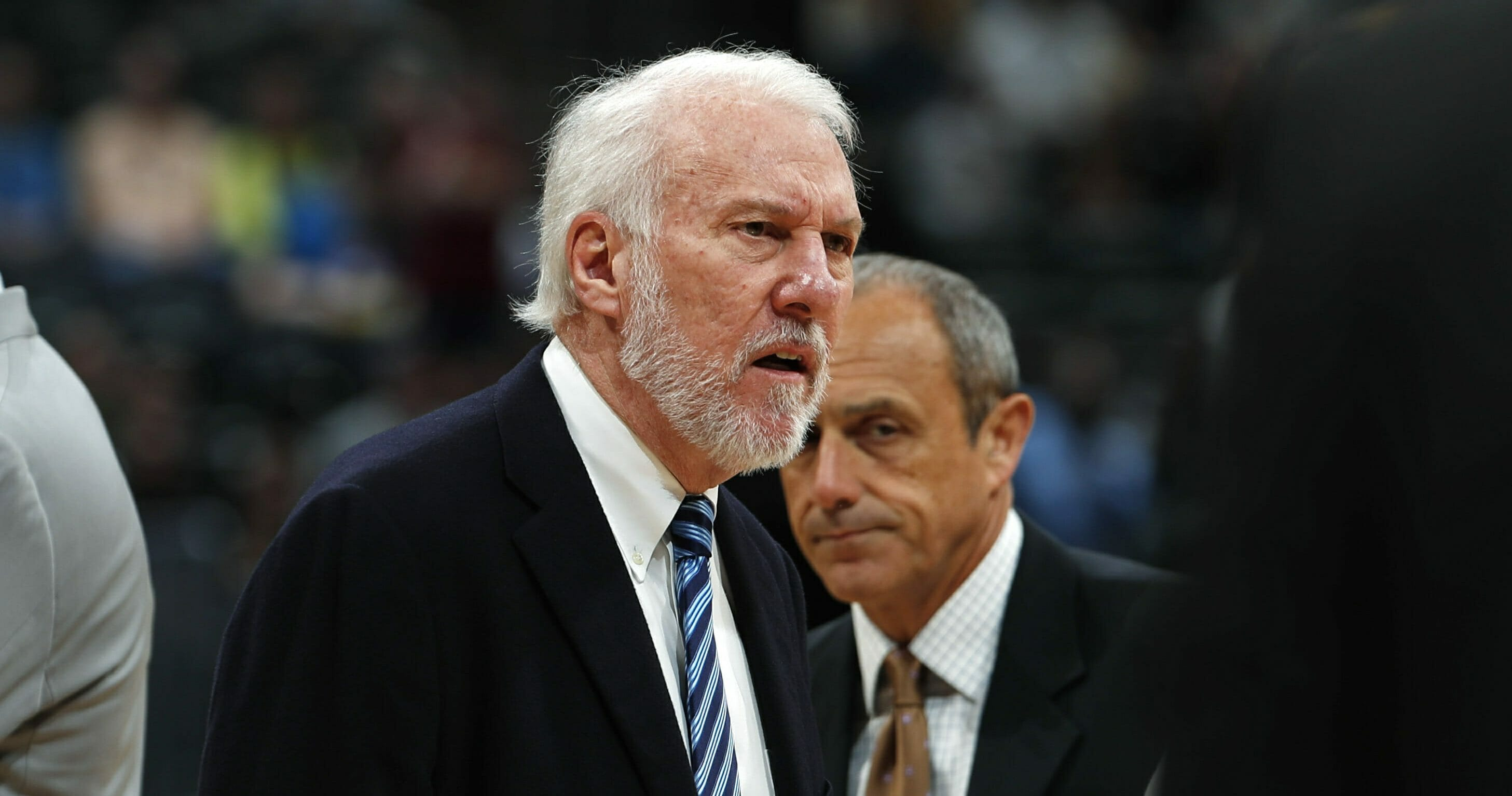 San Antonio Spurs head coach Gregg Popovich reacts after being ejected.