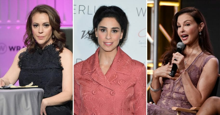 actresses Alyssa Milano, Sarah Silverman and Ashley Judd