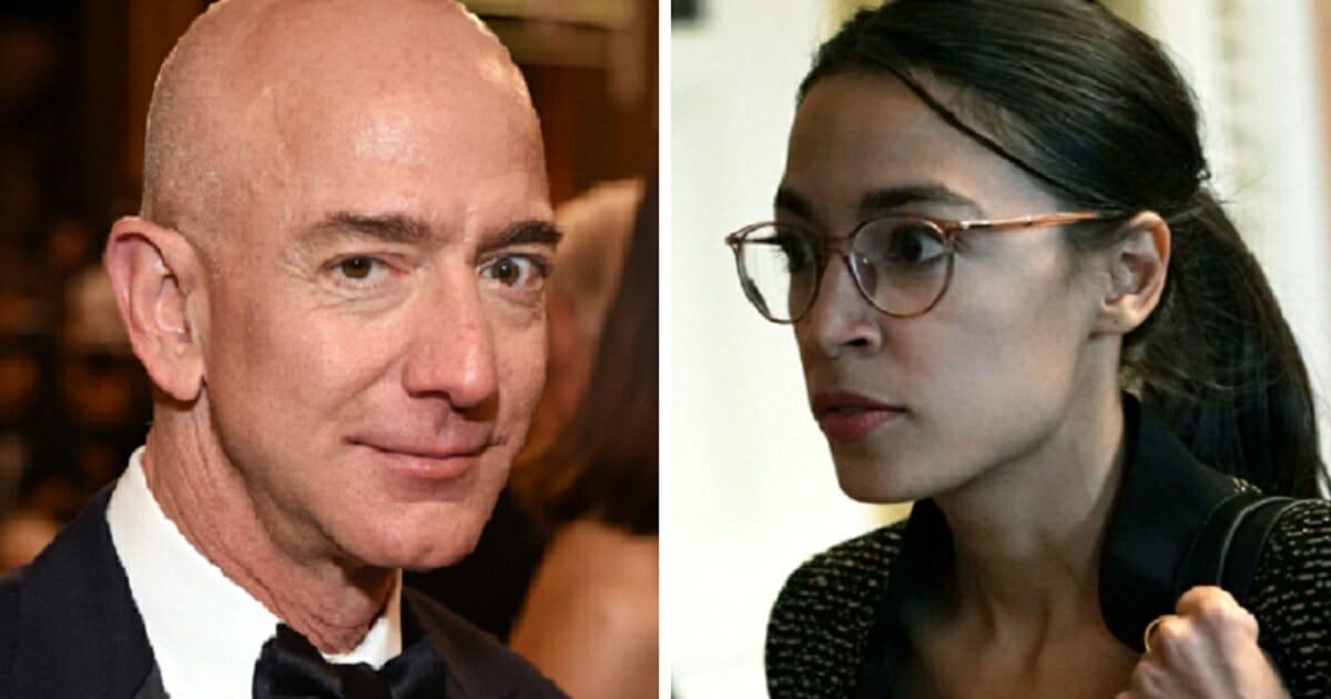 Amazon founder Jeff Bezos, left; and Rep. Alexandria Ocasio-Cortez, right.