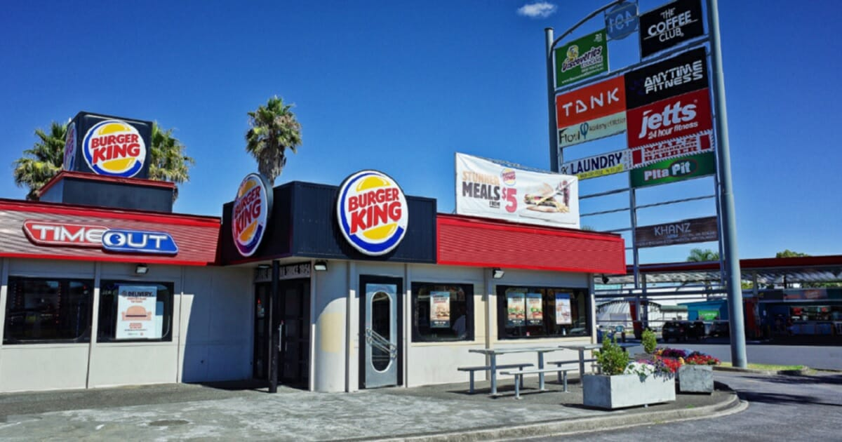 A Burger King franchise in a New Zealand strip mall.
