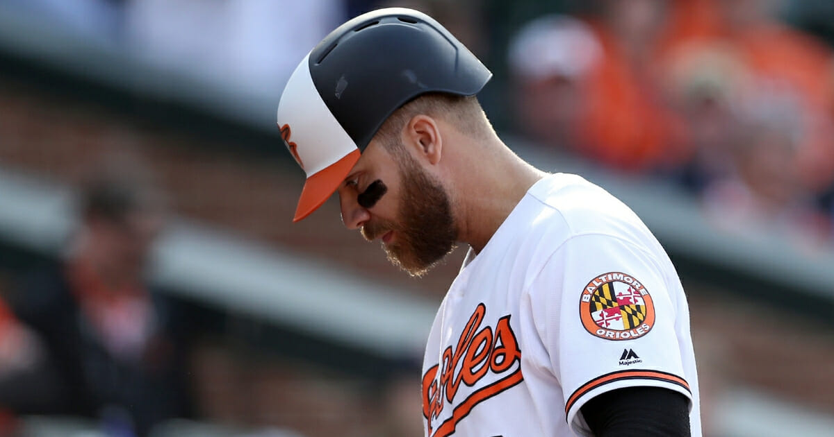 Chris Davis of the Baltimore Orioles looks on after striking out against the New York Yankees at Camden Yards on April 4, 2019.