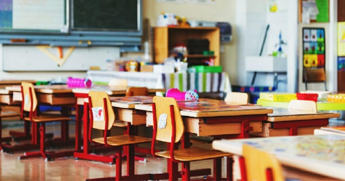 An empty elementary school classroom.