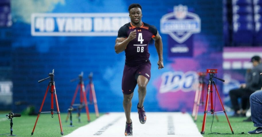 Defensive back Corey Ballentine runs the 40-yard dash at the NFL Combine on March 4, 2019, in Indianapolis. Ballentine, drafted by the New York Giants, was wounded during a Sunday shooting that killed his Washburn University teammate Dwane Simmons.