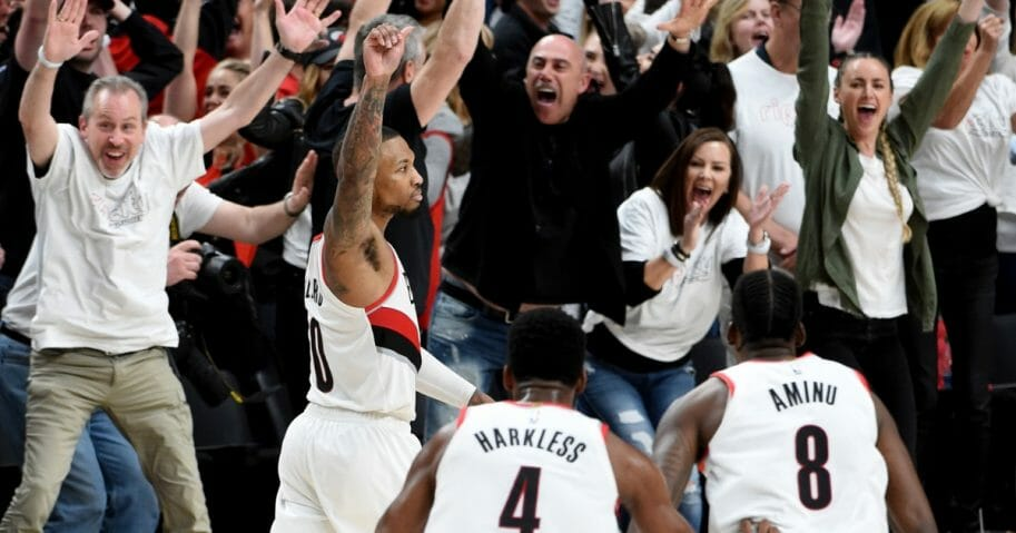 Damian Lillard of the Portland Trail Blazers reacts after hitting the game-winning shot in Game 5 of the Western Conference quarterfinals against the Oklahoma City Thunder on April 23, 2019, at Moda Center.