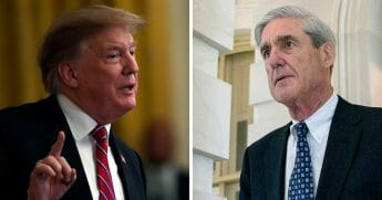 President Donald Trump, left, and special counsel Robert Mueller, right.