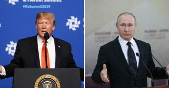 President Donald Trump speaks at the Rx Drug Abuse & Heroin Summit on April 24, 2019, in Atlanta, Georgia, left. Russian President Vladimir Putin speaks during his press conference on April 25, 2019, right.