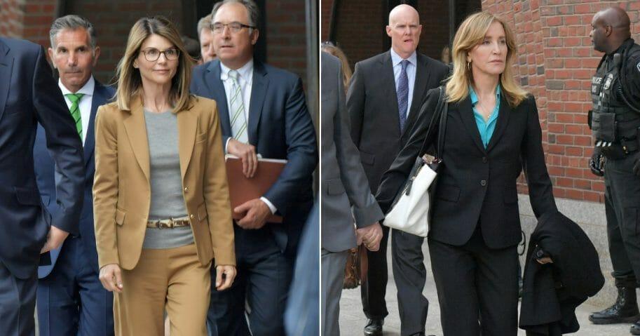 Lori Loughlin exits the John Joseph Moakley U.S. Courthouse; Felicity Huffman exits the John Joseph Moakley U.S. Courthouse.