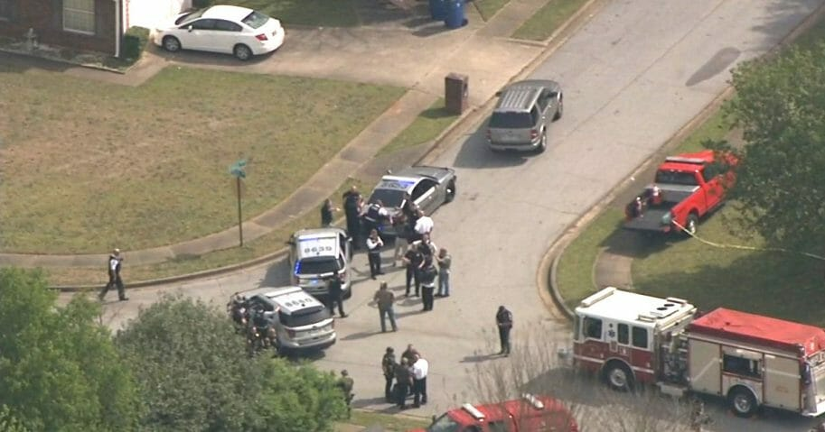 An aerial view of the scene of a standoff in Stockbridge, Georgia.