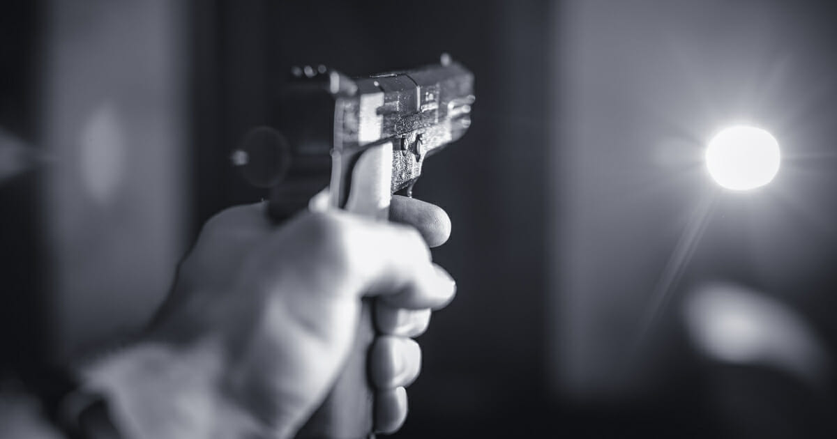Gun Pointed at Door
