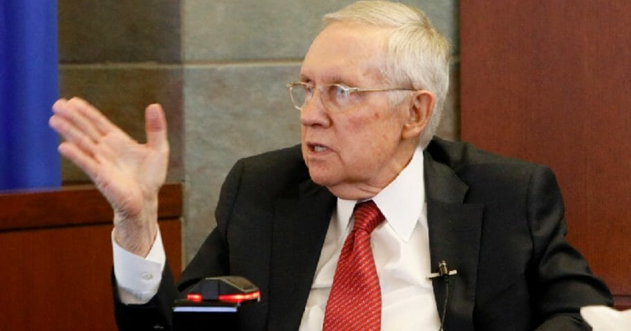 Former Senate Majority Leader Harry Reid testifies March 28 in his lawsuit against the maker of an exercise device Reid blamed for a fall in 2015 that cost him his vision in one eye.