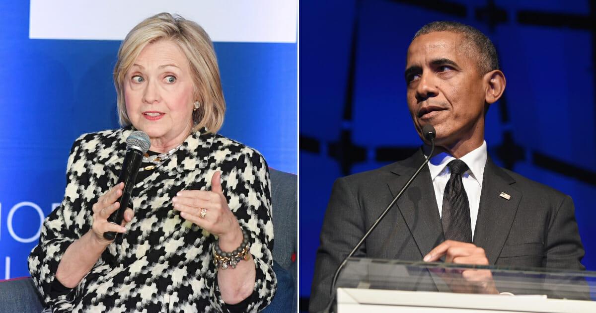 Hillary Clinton, left, and Barack Obama, right.