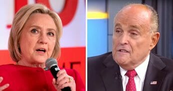 Former Democratic presidential candidate Hillary Clinton, left, and Trump attorney Rudy Giuliani, right.