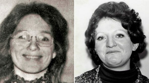 This undated photo provided by the San Luis Obispo County Sheriff's Office shows murder victim Jane Morton Antunez, whose body was found in her car in Atascadero, California, on Nov. 18, 1977, left. This undated photo provided by the San Luis Obispo County Sheriff's Office shows murder victim Patricia Dwyer, whose body was found in her home in Atascadero, California, on Jan. 11, 1978, right.