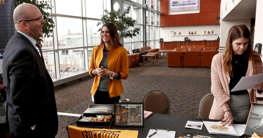 Visitors to the Pittsburgh veterans job fair meet with recruiters at Heinz Field on March 7, 2019.