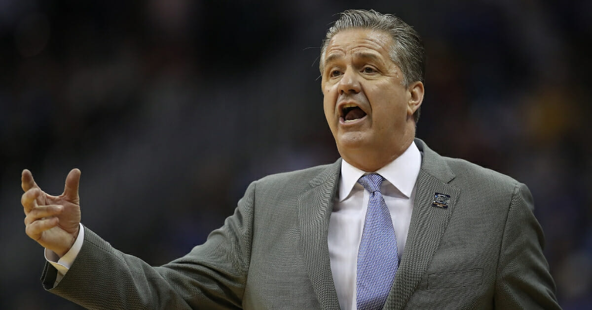 Kentucky basketball coach John Calipari during the Wildcats' upset loss to the Auburn Tigers in the NCAA Tournament on March 31, 2019 in Kansas City.