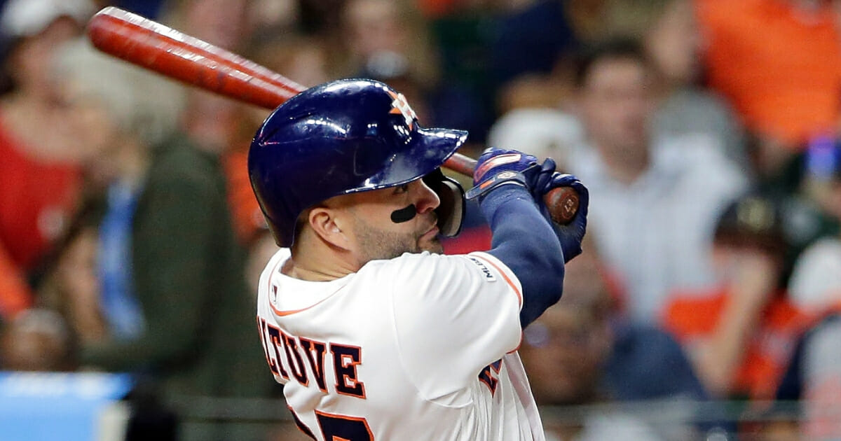 Astros' second baseman Jose Altuve watches his second home run during the fifth inning against the New York Yankees on Wednesday, April 10, 2019, in Houston.