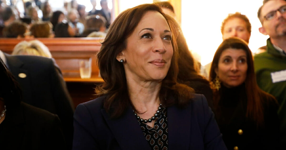 Democratic presidential candidate Sen. Kamala Harris at a house party, Thursday, April 11, 2019, in Des Moines, Iowa.