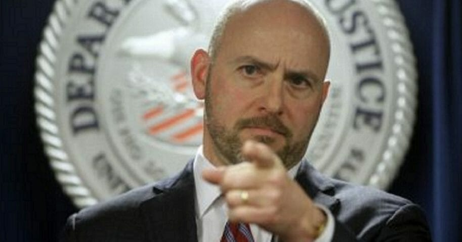 Andrew Lelling, U.S. attorney for the District of Massachusetts, speaks during a March news conference in Boston. On Thursday, Lelling announced obstruction-of-justice charges against Newton, Massachusetts, District Court Judge Shelley M. Richmond Joseph and a former court officer for allegedly helping a man in the country illegally evade immigration officials as he left the courthouse after a hearing in March 2018.