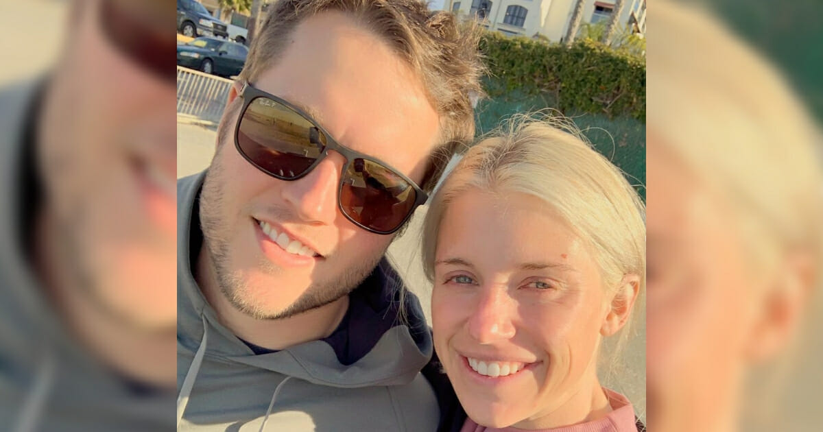 Detroit Lions quarterback Matthew Stafford and his wife, Kelly.
