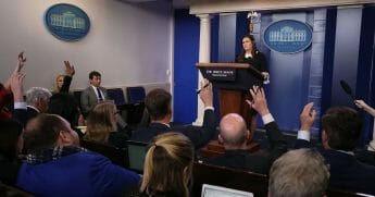 White House Press Secretary Sarah Sanders speaks to the media in the Brady Briefing Room, on Dec. 18, 2018, in Washington, D.C.