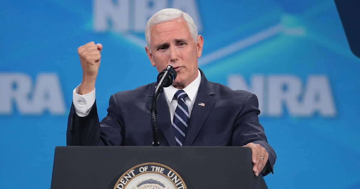 Vice President Mike Pence speaks to guests at the NRA-ILA Leadership Forum at the 148th NRA Annual Meetings & Exhibits on April 26, 2019, in Indianapolis, Indiana.