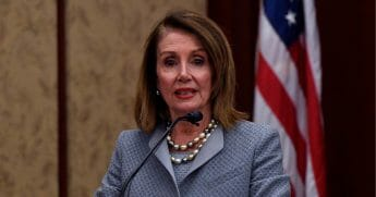 Speaker Nancy Pelosi (D-CA) speaks at the screening of TransMilitary on Capitol Hill at the U.S. Capitol Visitor Center at U.S. Capitol Visitor Center on April 3, 2019, in Washington, D.C.