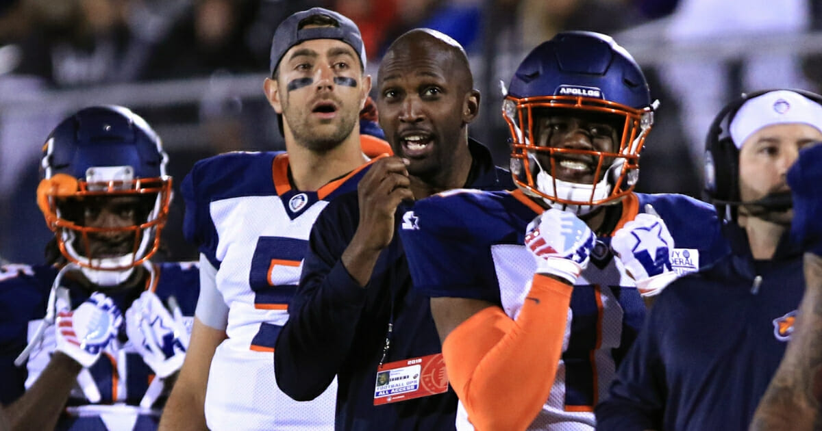 Orlando Apollos players react during an AAF game against the Arizona Hotshots at Spectrum Stadium on March 16, 2019.