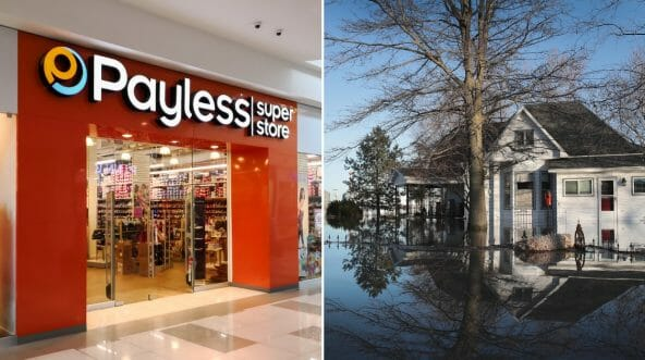 Payless shoe store, left, and a home surrounded by flood water in Craig, Missouri, right.