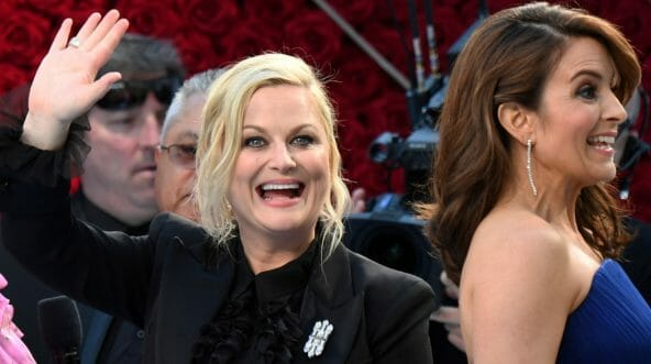 Actresses Amy Poehler, left, and Tina Fey arrive for the 91st Annual Academy Awards in Hollywood, on February 24, 2019.