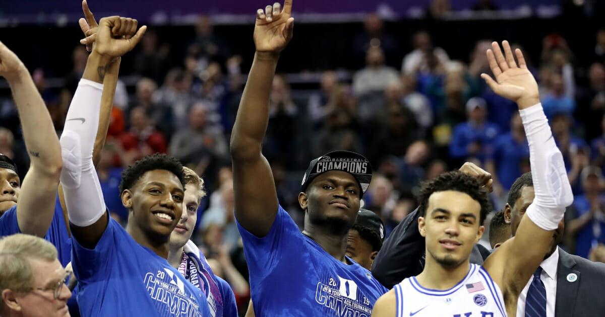 R.J. Barrett, left, with Duke teammates Zion Williamson, center, and Tre Jones.
