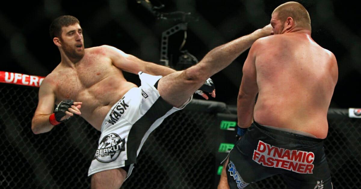 Ruslan Magomedov kicks Josh Copeland in a heavyweight bout during UFC Fight Night in Austin, Texas, on Nov. 22, 2014.