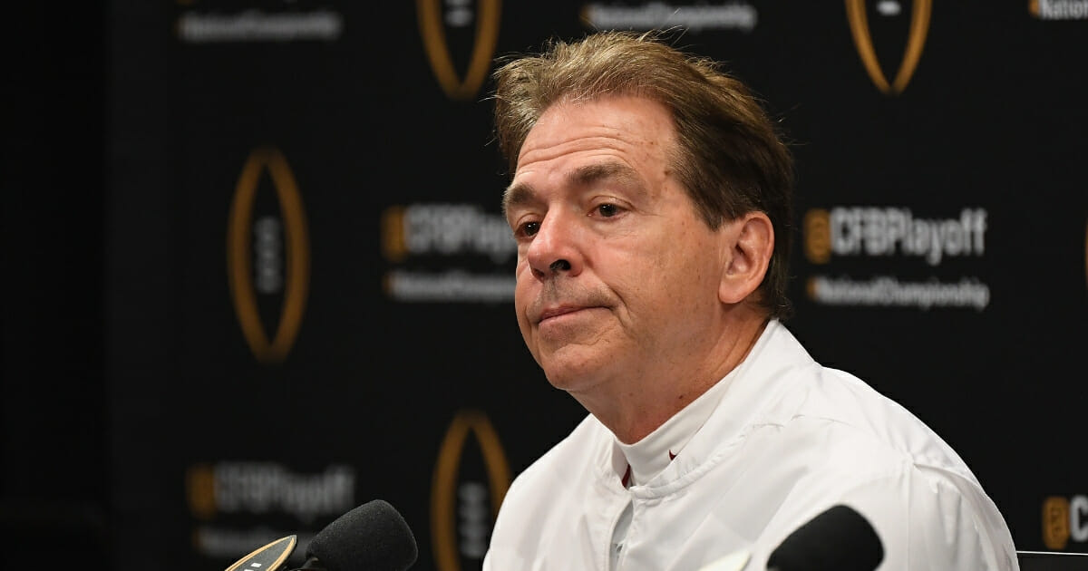 Head coach Nick Saban of the Alabama Crimson Tide reacts during the press conference after his team's 44-16 loss to the Clemson Tigers in the CFP National Championship presented by AT&T at Levi's Stadium on Jan. 7, 2019 in Santa Clara, California.