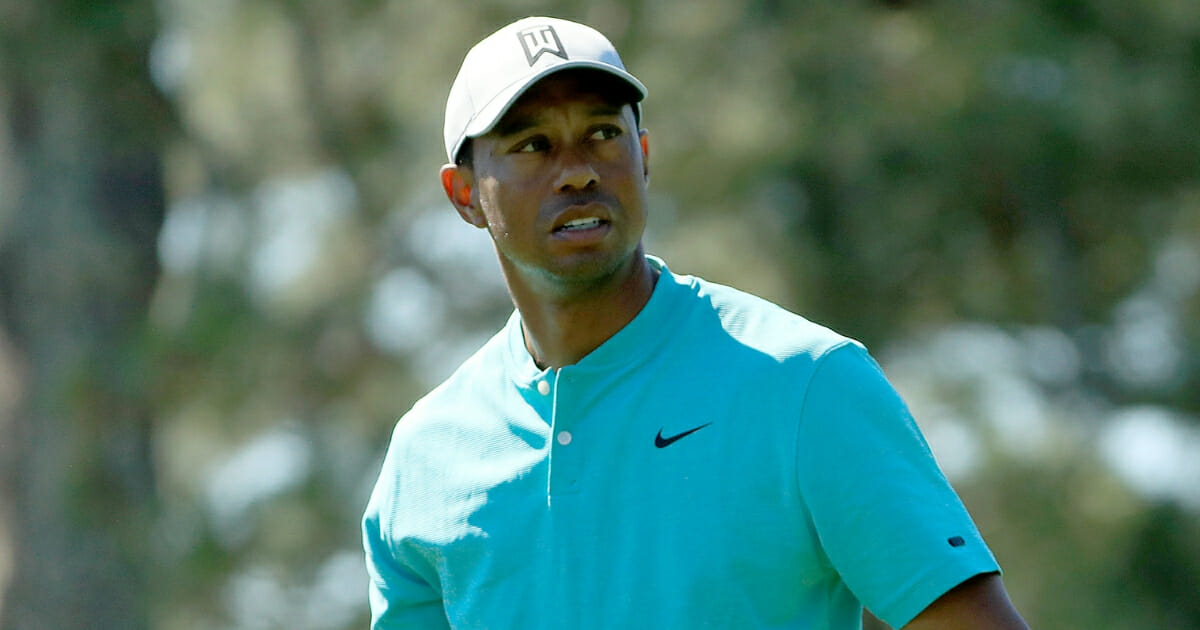 Tiger Woods looks on during an April 10, 2019, practice round prior to the Masters at Augusta National Golf Club.