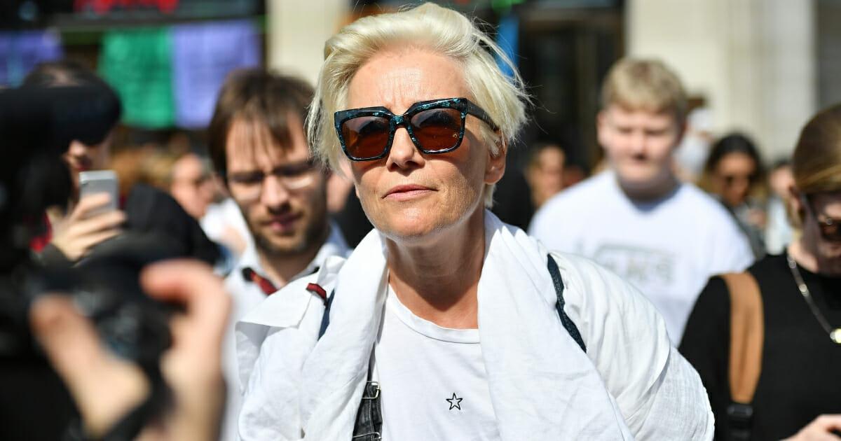 Actress Emma Thompson at London protests.
