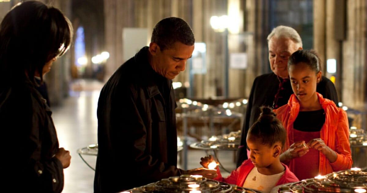 Former President Barack Obama at Notre Dame Cathedral.