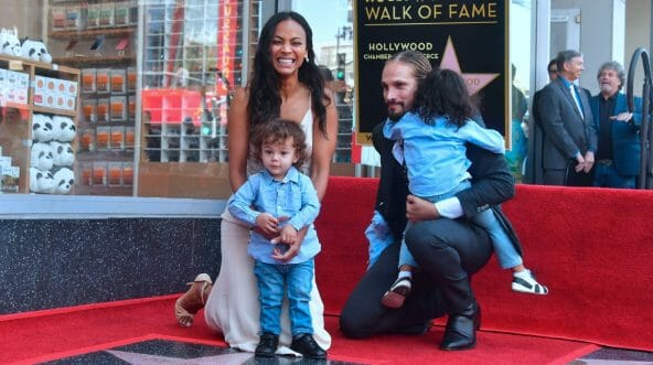 """""""Guardians of the Galaxy"""" star Zoe Saldana and her husband, Marc Perego, are pictured with the couple's three boys at Saldana's Walk of Fame ceremony in Hollywood in May."""