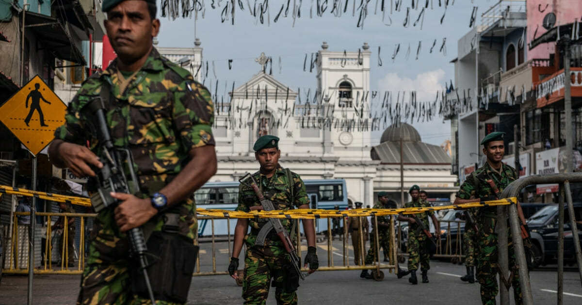 Sri Lankan police special forces guard the area near St. Anthony's Shrine on Sunday in Colombo, Sri Lanka.