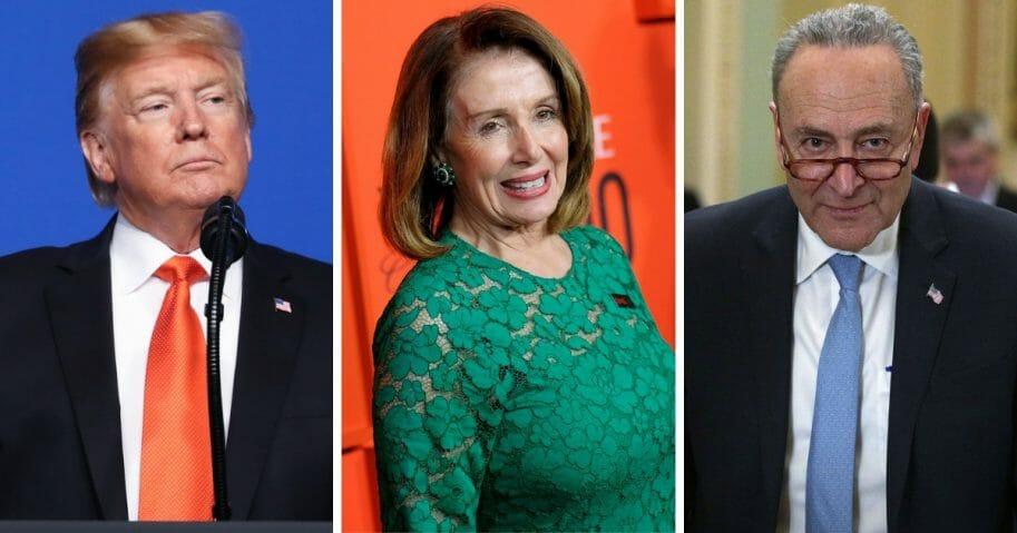 President Donald Trump, left; House Speaker Nancy Pelosi, center; and Senate Minority Leader Chuck Schumer, right.