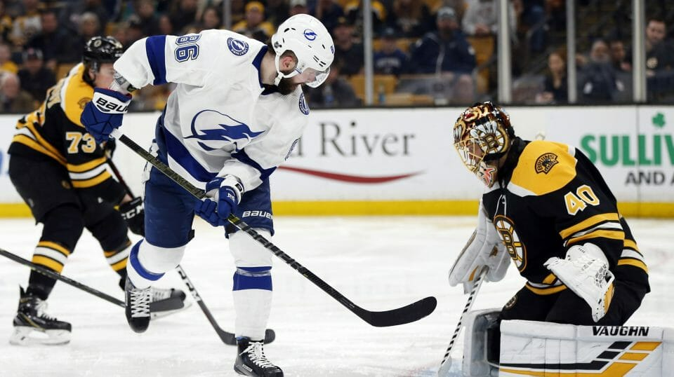Tampa Bay Lightning's Nikita Kucherov scores on Boston Bruins' Tuukka Rask during the third period of an NHL hockey game in Boston, Saturday, April 6, 2019.