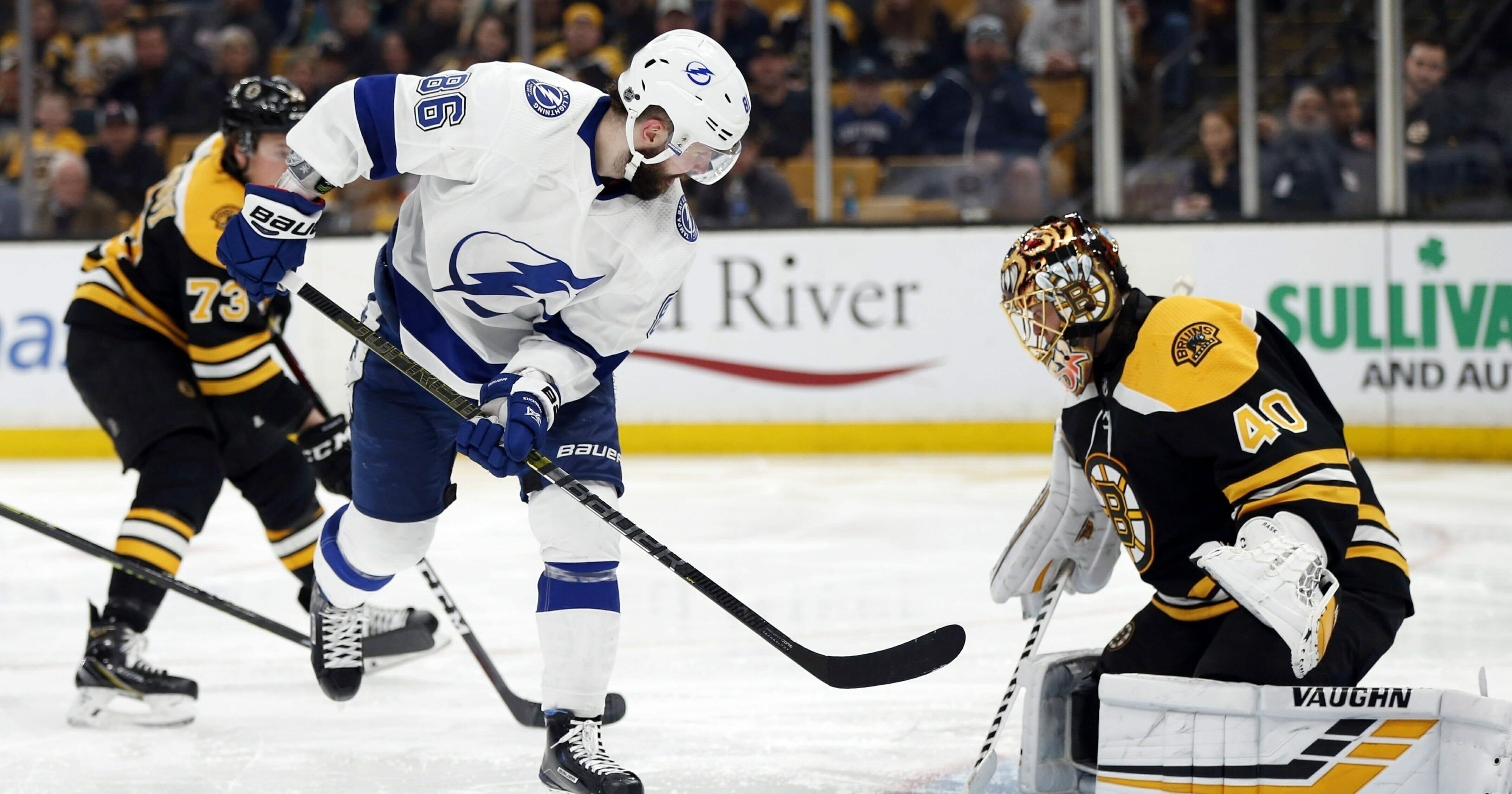 Tampa Bay Lightning's Nikita Kucherov scores on Boston Bruins' Tuukka Rask during the third period of an NHL hockey game in Boston, Saturday, April 6, 2019.