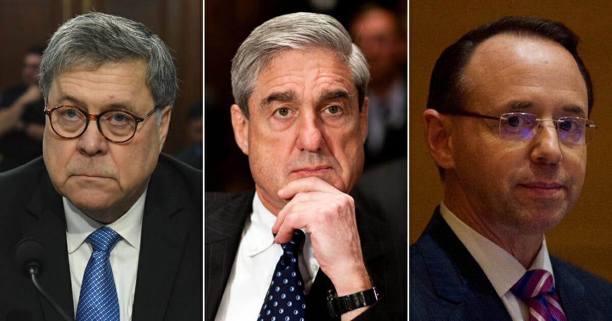 U.S. Attorney General William Barr; special counsel Robert Mueller; Deputy Attorney General Rod J. Rosenstein